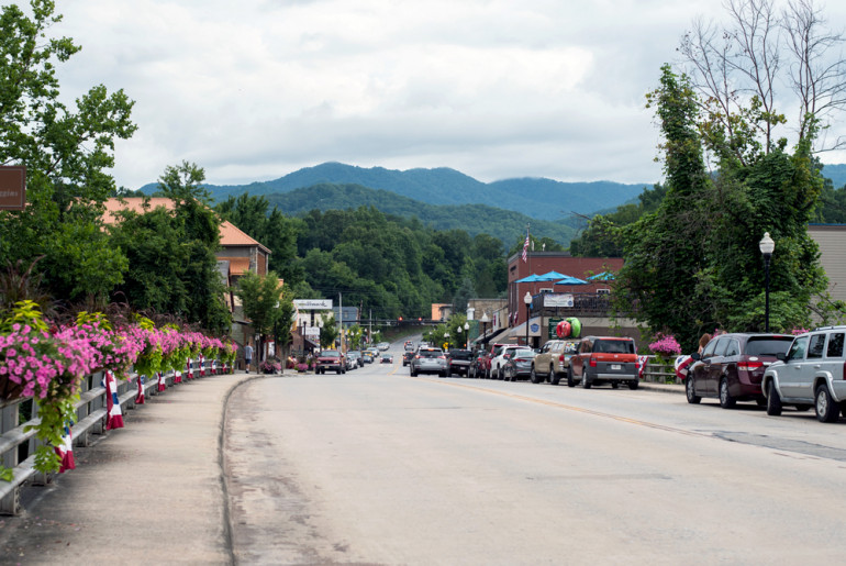View of downtown Bryson City, NC. There are so many fun things to do in Bryson City, NC