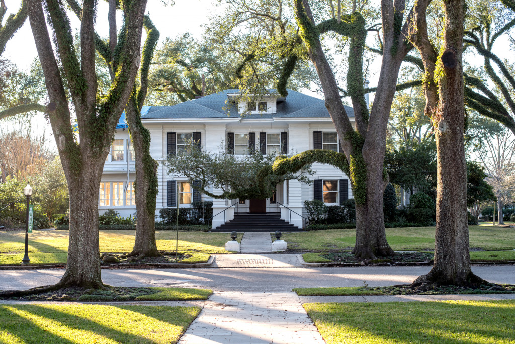 gorgeous old home surrounded by huge trees. A white house black shutters.