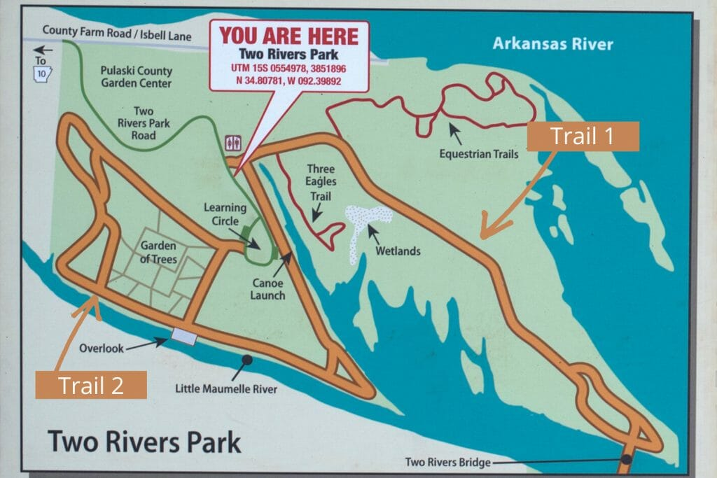 Map of the trails at Two Rivers Park