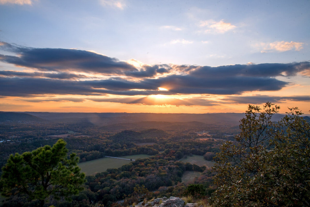 Sunset from the top of Pinnacle Mountain at Pinnacle Mountain State Park near Little Rock. One of the best parks in Little Rock.
