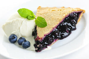 Delicious blueberry pie with ice cream. Great recipes with blueberries.