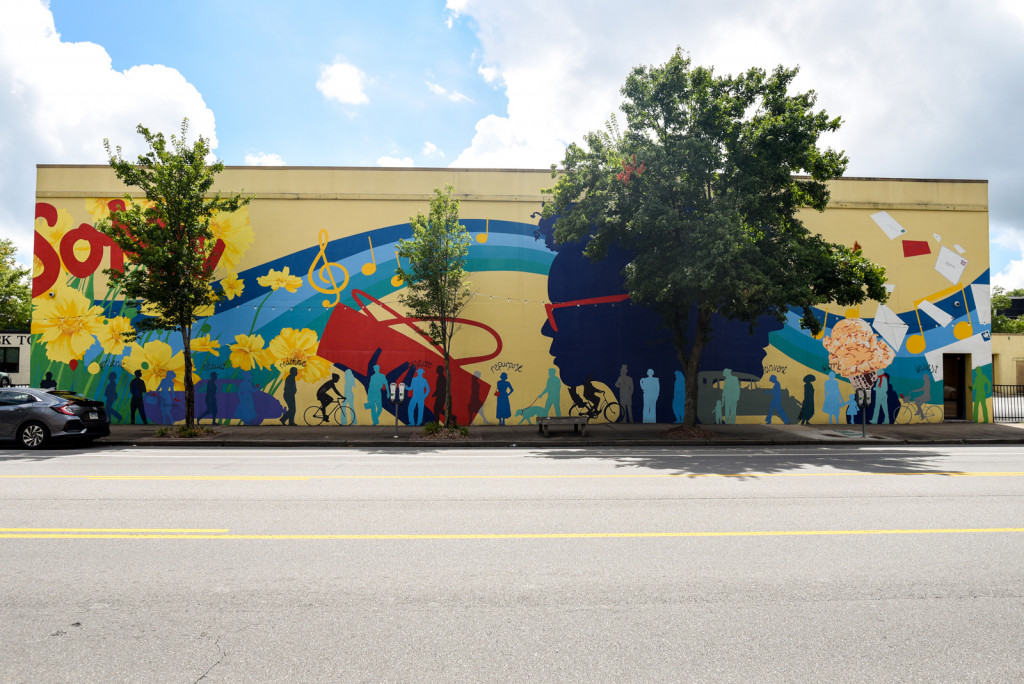 SoMa Mural in the South Main area of Little Rock, Arkansas. A bright and sunny mural. One of the street murals in Little Rock.