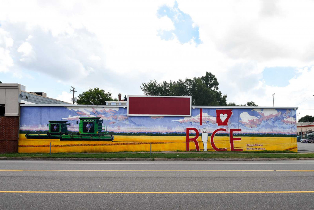 Golden Harvest was comissioned to celbrate the rice industry in Arkansas. Is is one of the Street Murals in Little Rock, Arkansas