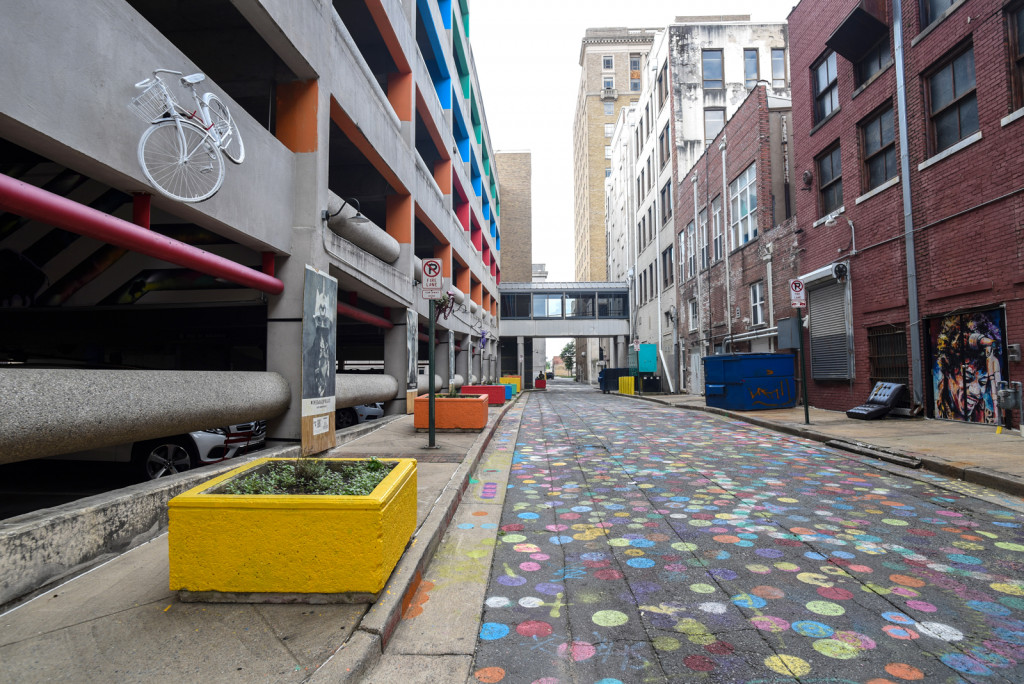 Baker's Alley in Little Rock Arkansas behind the Repertory Theater. One of the places to see the murals in Little Rock, Arkansas