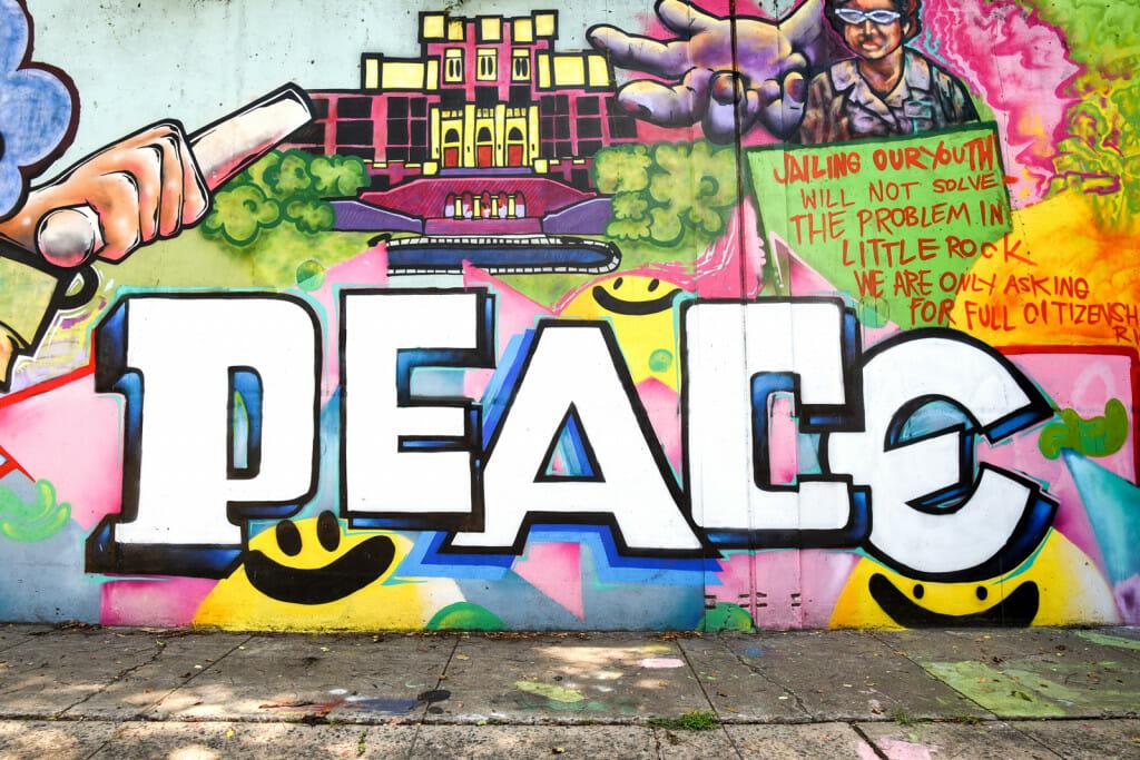 peace mural in little rock, arkansas on 7th street