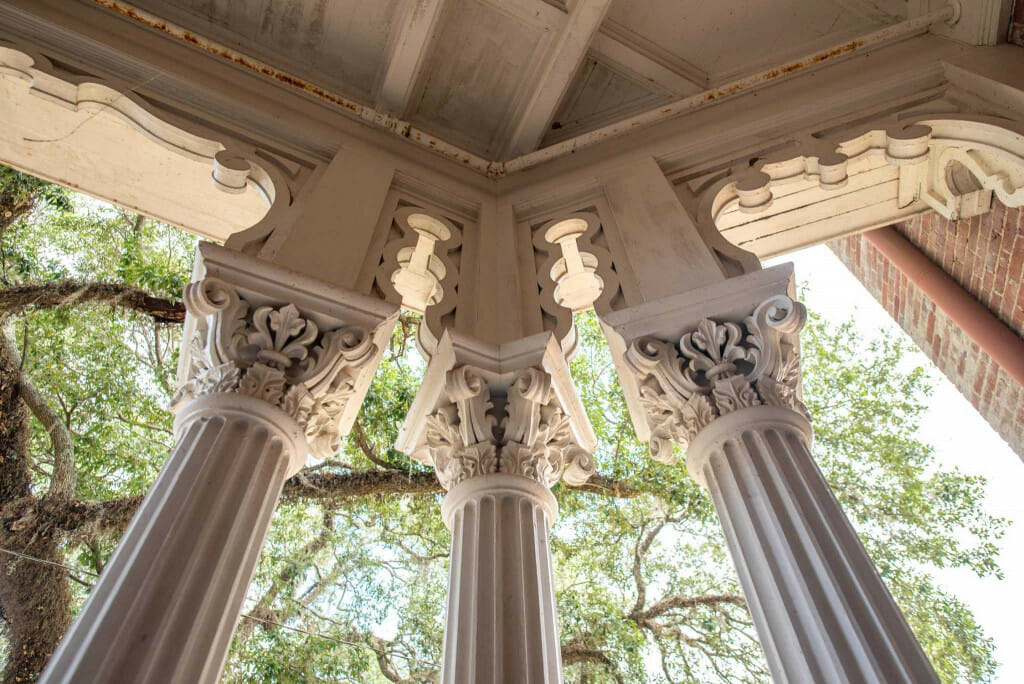 The fancy pillars on the porches of Longwood mansion
