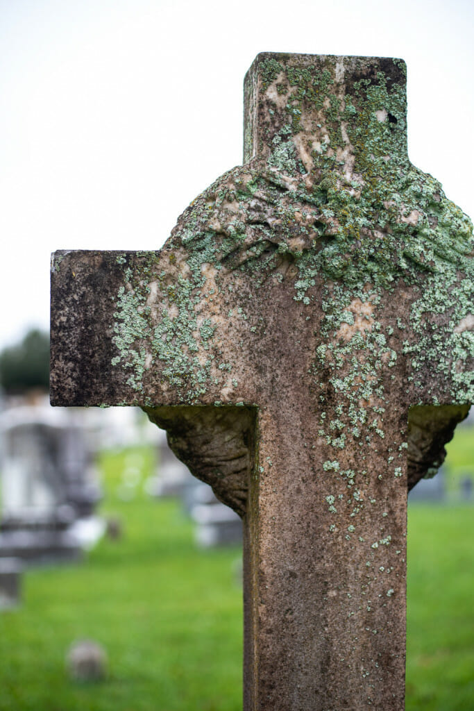 Weathered cross at the City Cemetery
