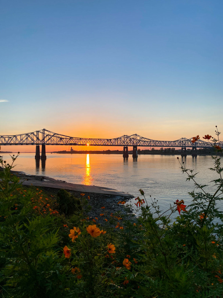 Sunset on the Mississippi River in Natchez MS