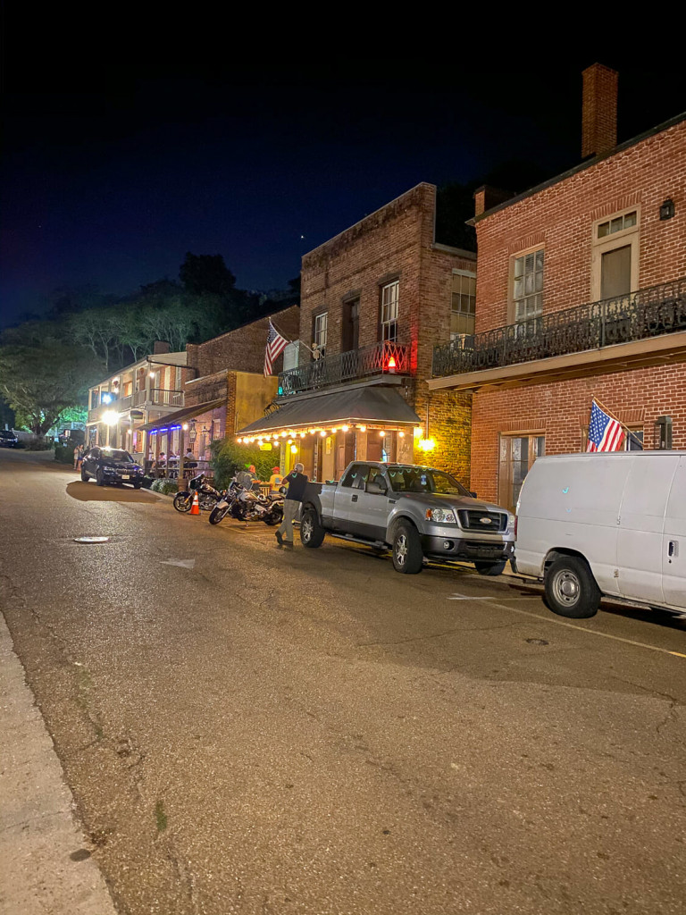 Under the Hill area of Natchez MS in the evening