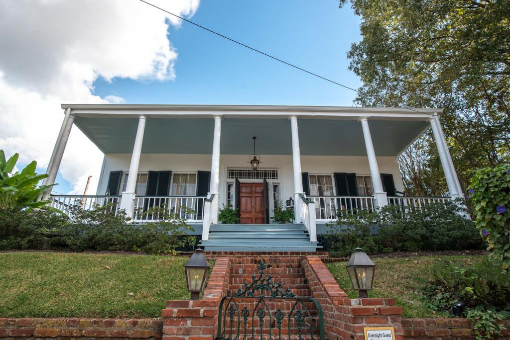 The Lovely porch of Oak Hill in Natchez Mississippi