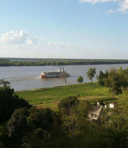 View of the Mississippi River from the porch of the river house