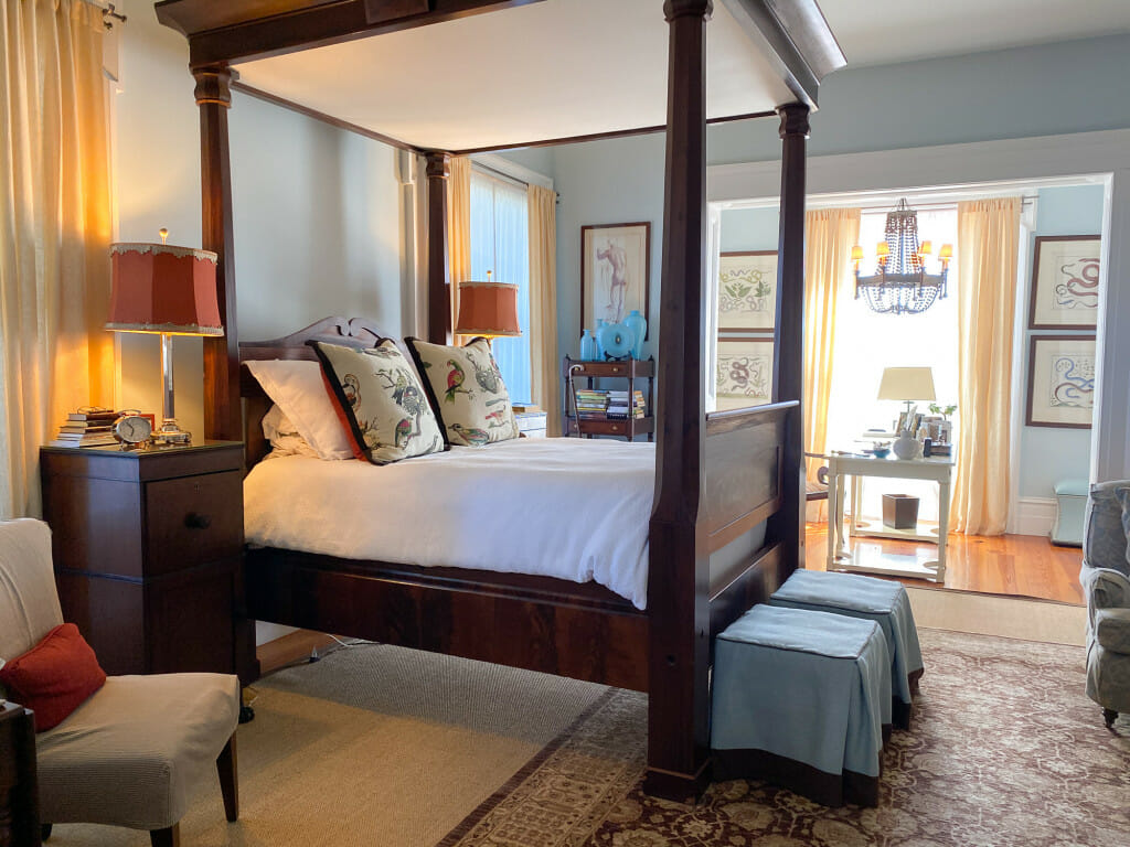Master bedroom of the P. Allen Smith home.