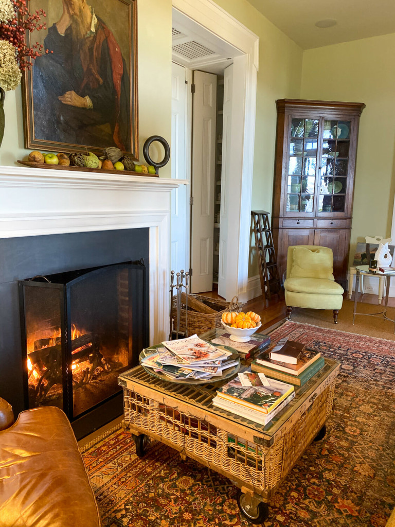 Fireplace in the sitting area of the P. Allen Smith Home.