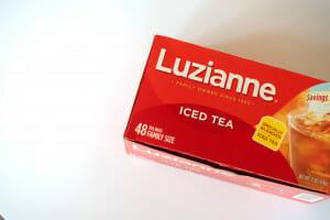 Box of Luzianne tea. Southern sweet tea recipe.