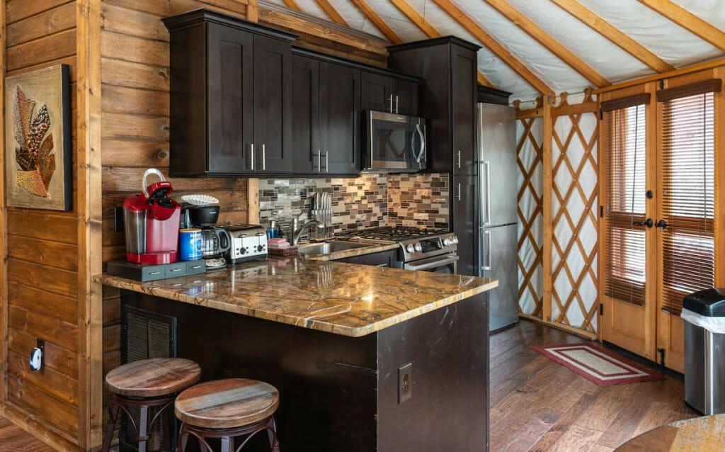 Kitchen in luxury yurt