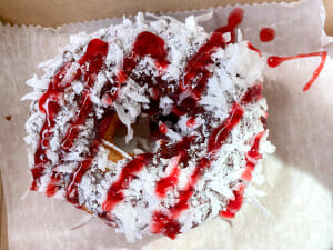 Donut from the Donut Experiment on Anna Maria Island. This donut has chocolate icing, coconut topping and raspberry drizzle.