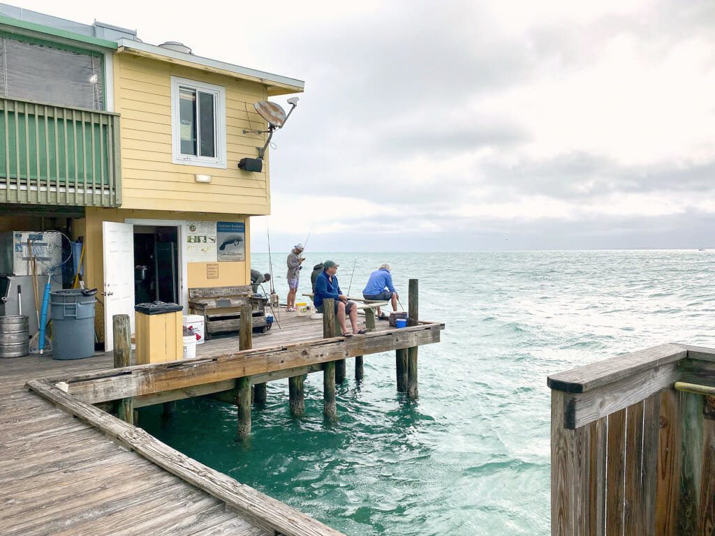 Fishing on the rod and reel pier