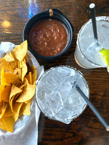 margaritas and chips and salsa at Wicked Cantina