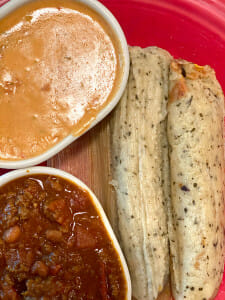 Cheese dip and tamales from Izzy's restaurant in Little Rock.