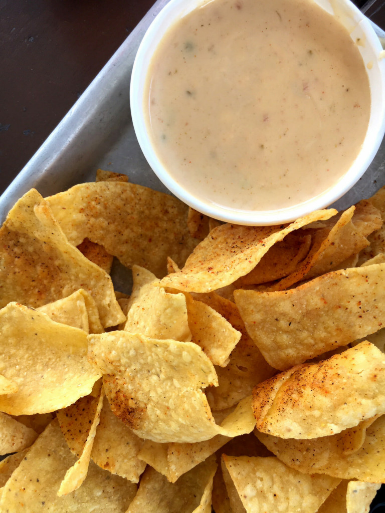 Cheese dip and chips from Tacos 4 Life.