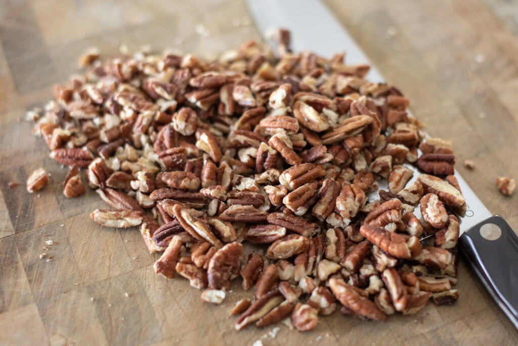 pecans being chopped.