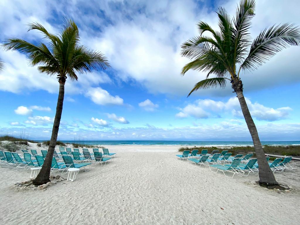 Beach and Beach chairs on Holmes Beach in Anna Maria Island