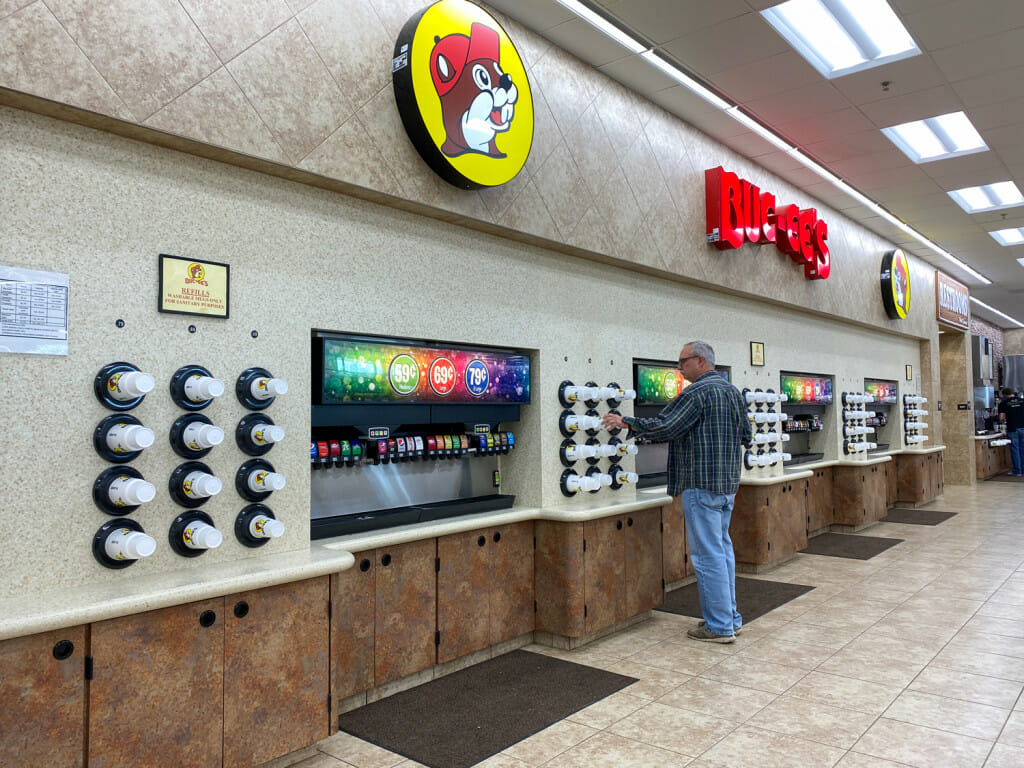 There are so many soda choices at Buc-ee's!