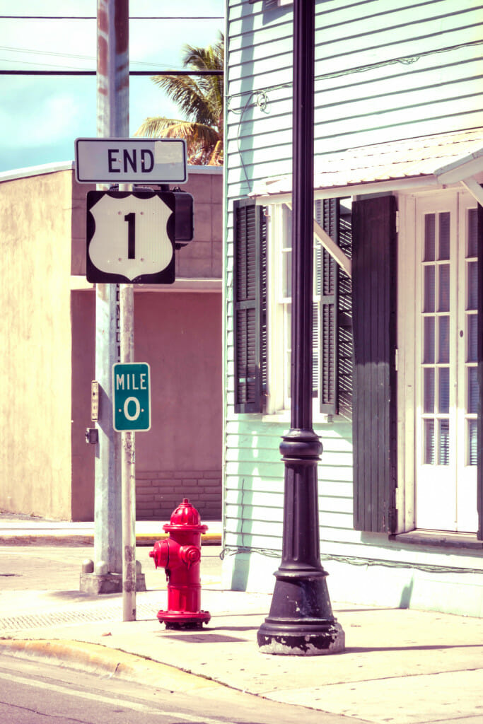 mile marker zero in the Florida Keys. The end of US 1
