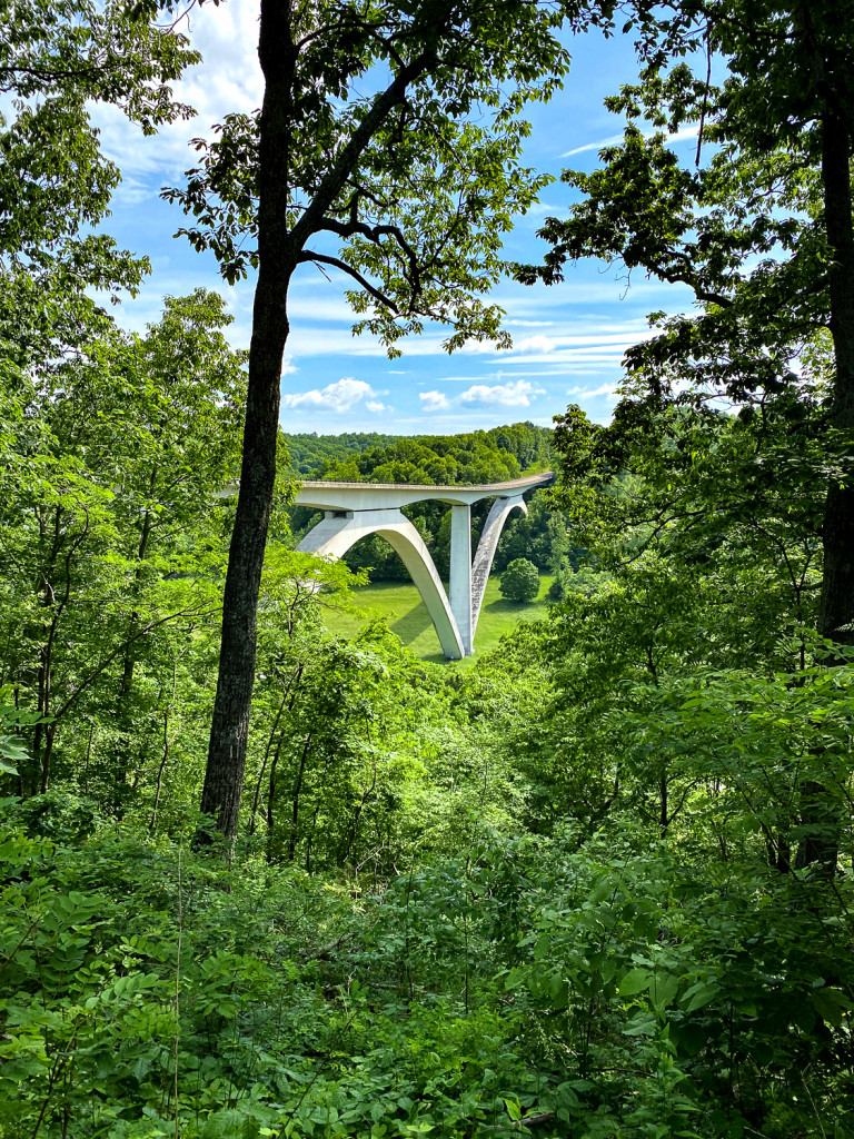 view of the bridge on the Natchez Trace Parkway from above.