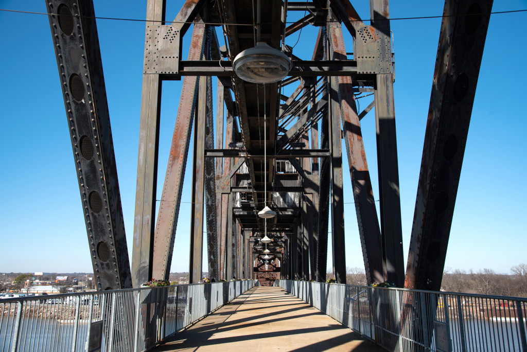 View of the Clinton Presidential Park Bridge in Little Rock. One of the four pedestrian and biking bridges in Little Rock including the Big Dam Bridge.
