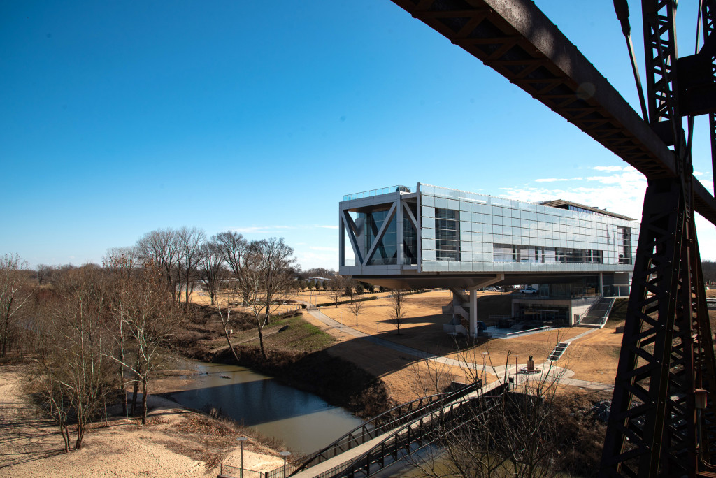 View of the Clinton Presidential Library in Little Rock from the Clinton Presidential Park Bridge. One of the four pedestrian and biking bridges in Little Rock including the Big Dam Bridge.