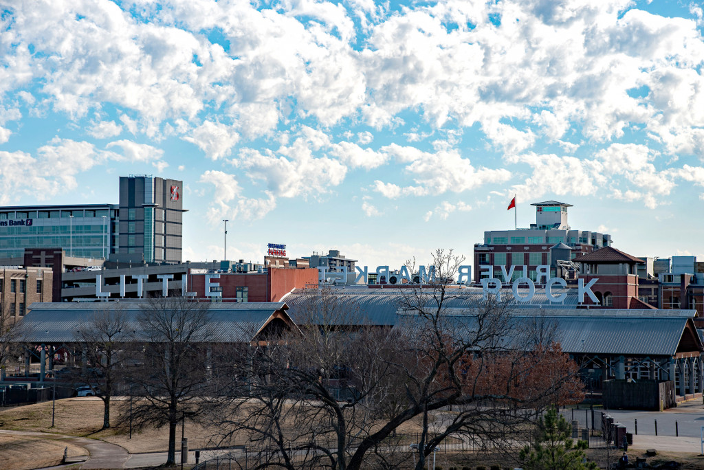 Photo of the River Market District in Little Rock from the Junction Bridge