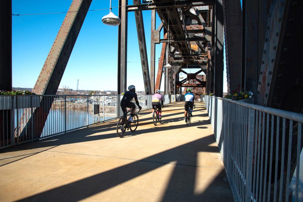 Bikers on the Clinton presidential Bridge in Little Rock, AR