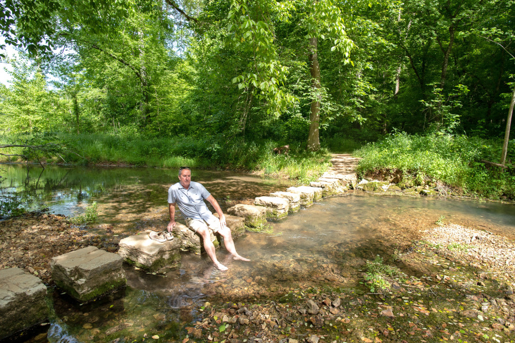 Cooling our feet in Collin Creek on the Natchez Trace Parkway