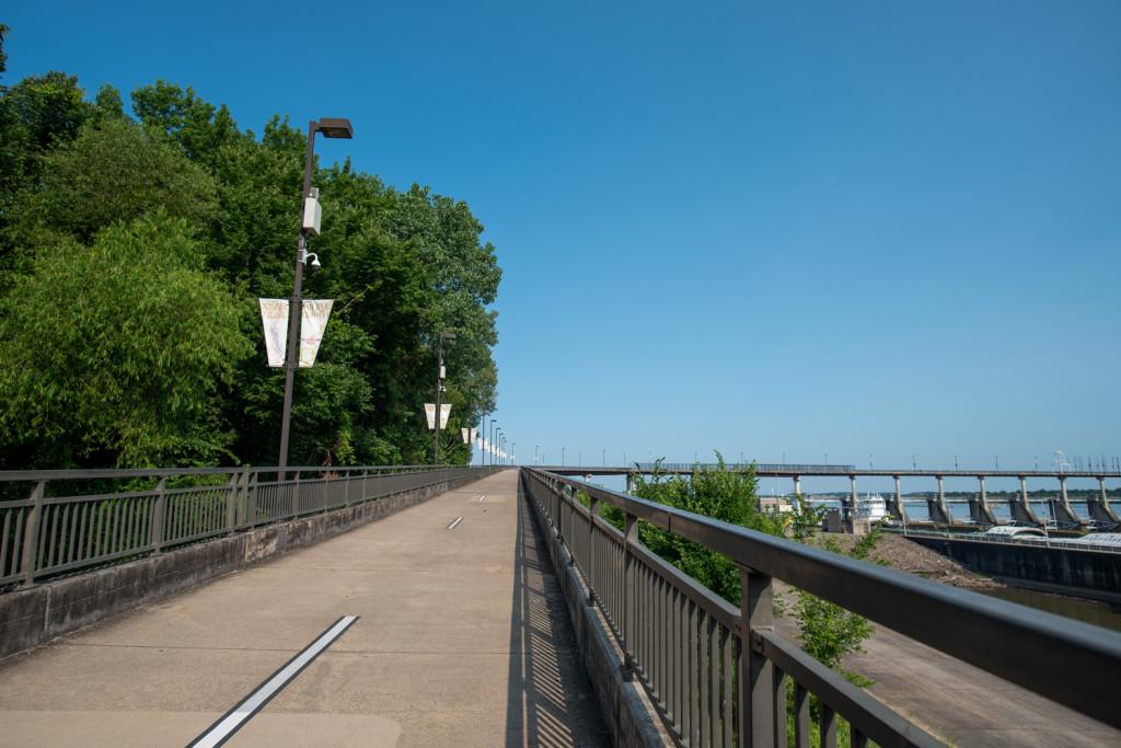Beginning of the Big Dam Bridge in Little Rock