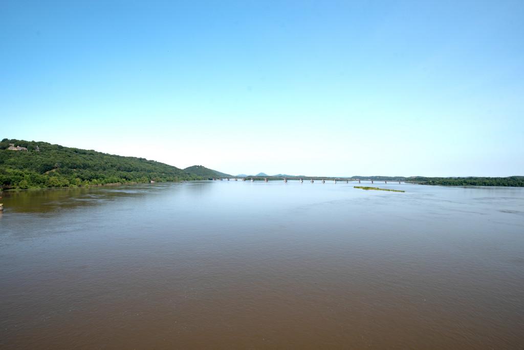 View from the Big Dam Bridge toward Pinnacle Mountain and the Two Rivers Bridge.