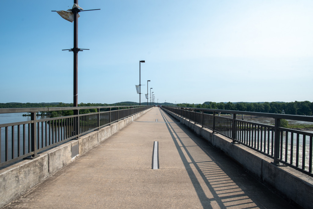 The Big Dam Bridge in Little Rock Arkansas is one of four pedestrian bridges in the city.