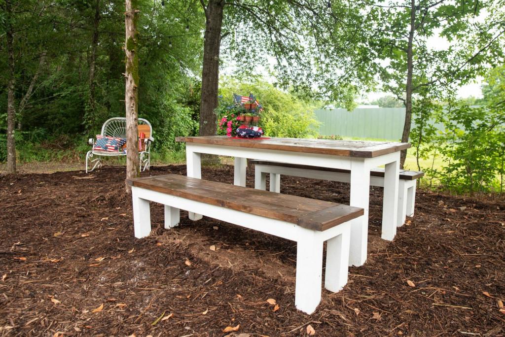 picnic table at Shasta Camp