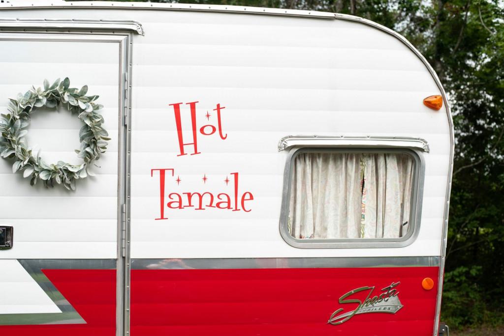 vintage Shasta camper named Hot Tamale