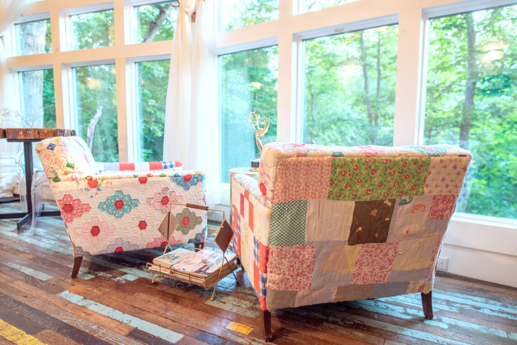 beautiful chairs made of quilts at the treehosue