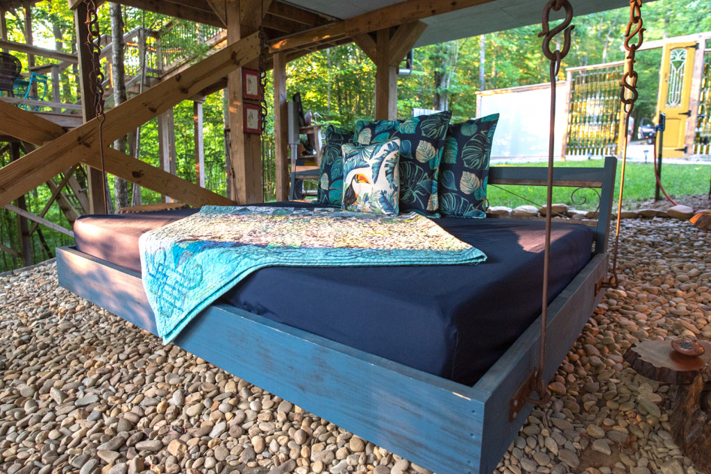 hanging bed underneath the sulfur ridge treehouse
