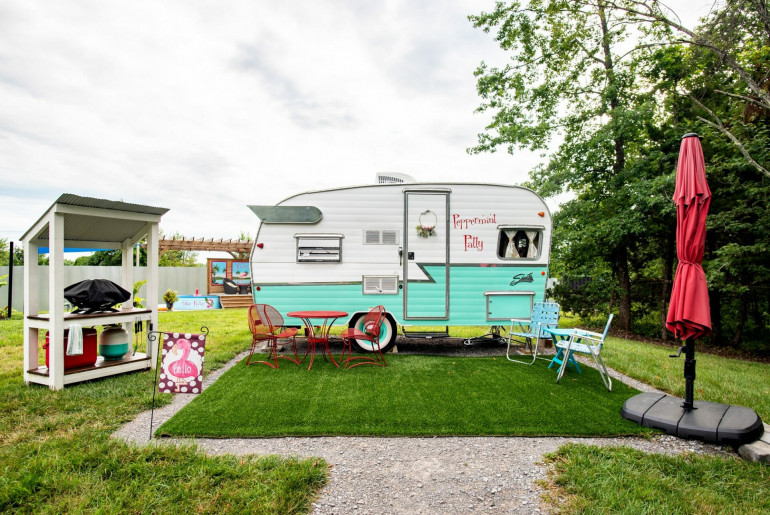 Peppermint Patty camper is one of the best places for glamping in Tennessee