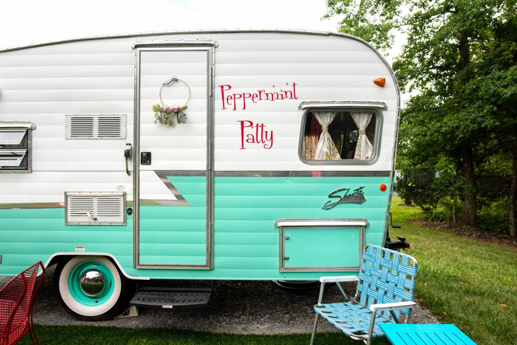 Vintage Shasta Camper names Peppermint Patty located at Sulfur Ridge in Tennessee