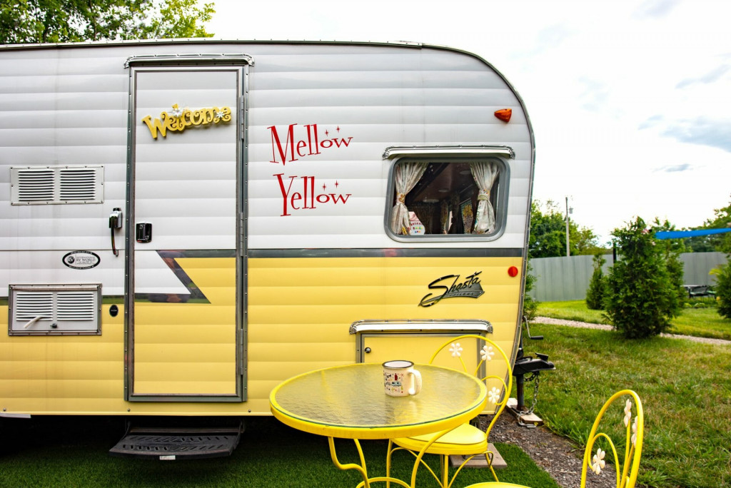Vintage Shasta camper named Mellow Yellow