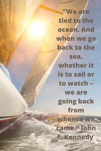 This is a photo of a sailboat on the ocean with a beach quote from John F. Kennedy