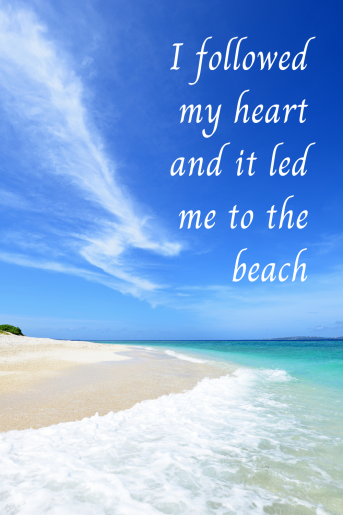 This is a quote about the beach. There is a photo of a white sand beach with the words on the blue sky that says: I followed my heart and it led me to the beach.