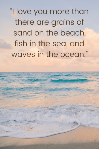 This is a beach quote on a background with a simple cloudy sky and a blue ocean. The quote reads: I love you more than there are grains of sand on the beach, fish in the sea, and waves in the ocean.