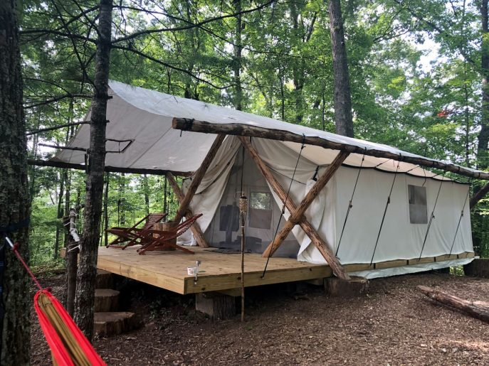 Glamping tent at Canopy RIdge in Tennessee