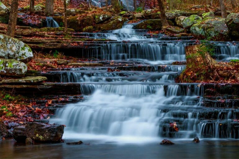 Collins Creek is one of the prettiest hiking trails in Arkansas. It starts with a gorgeous cascade of ice cold water which comes from the bottom of Greer's Ferry Lake.