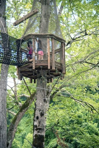 Playing on the ropes course is one of the fun things to do in Bryson City, NC